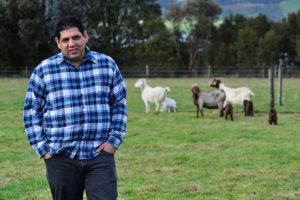 Goat Farm Yarragon. Farmer 'Wombat' photograph hayley mills