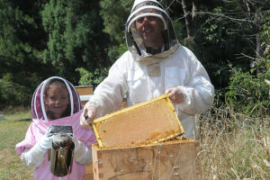 Mirboo North beekeeper Peter Gatehouse teaching his granddaughter Ruby Cautrier how to care for hives. photograph michelle slater