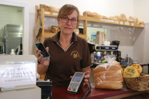 Thorpdale bakery owner Sonja Perrin gets no signal. photogrpah michelle slater.