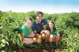 Family fun: Thorpdale Potato Festival treasurer Matt Steenman and his daughters are ready for the festival. photographs hayley mills