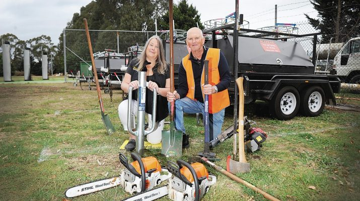 Blazeaid are set up at the Yinnar Recreation Reserve and looking for volunteers to come forward to begin the replacement of fencing in the area after the Yinnar South Budgeree fire tore through in early March. Luke van der Meulen and Jainee Lale Blazeaid Coord photograph hayley mills